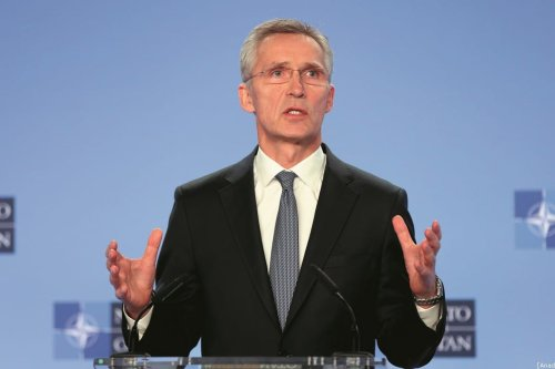 NATO Secretary General Jens Stoltenberg gives a press conference following the NATO ambassadors' meeting on the situation in the Middle East after the killing of Iranian top commander Qasem Soleimani in the US airstrike at NATO headquarter in Brussels, Belgium on 6 January 2020. [Dursun Aydemir - Anadolu Agency]