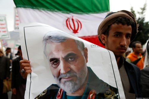 People gather to protest the US air strike in Iraq that killed Iranian commander Qasem Soleimani, who headed Iran's Revolutionary Guards' elite Quds force in Sanaa, Yemen on January 6, 2020. [Mohammed Hamoud/Anadolu Agency]