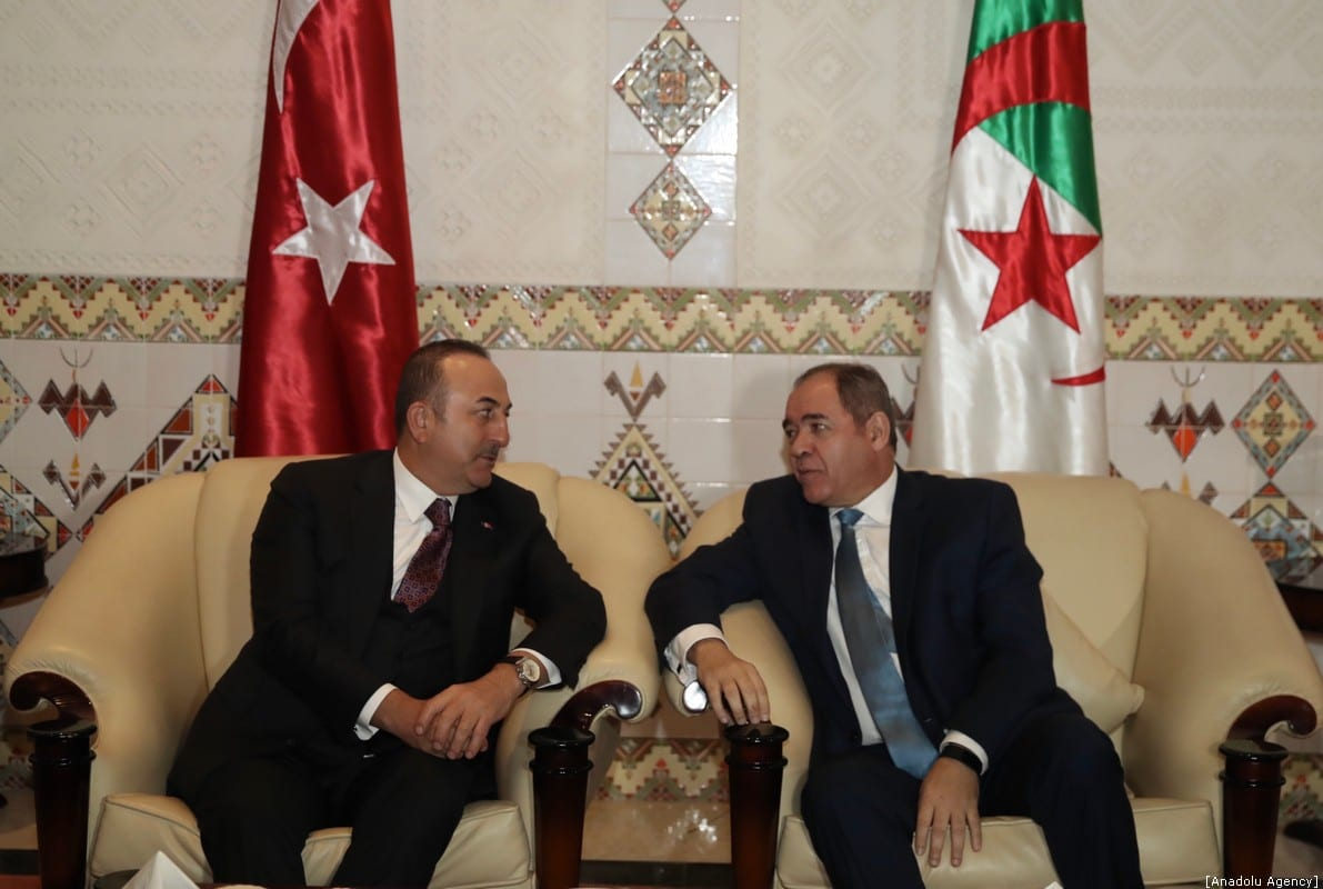 Turkish Foreign Minister Mevlut Cavusoglu (L) meets Foreign Minister of Algeria Sabri Boukadoum (R) during his official visit in Algiers, Algeria on January 06, 2020 [Fatih Aktaş/Anadolu Agency]