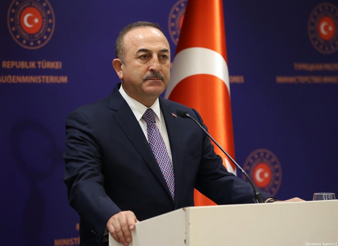 Turkish Foreign Minister Mevlut Cavusoglu in Istanbul, Turkey on 11 January 2020. [Fatih Aktaş - Anadolu Agency]