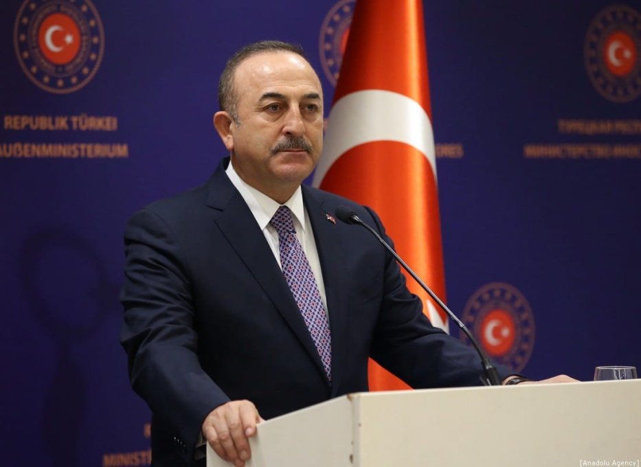 Turkish Foreign Minister Mevlut Cavusoglu in Istanbul, Turkey on 11 January 2020. [Fatih Aktaş - Anadolu Agency]