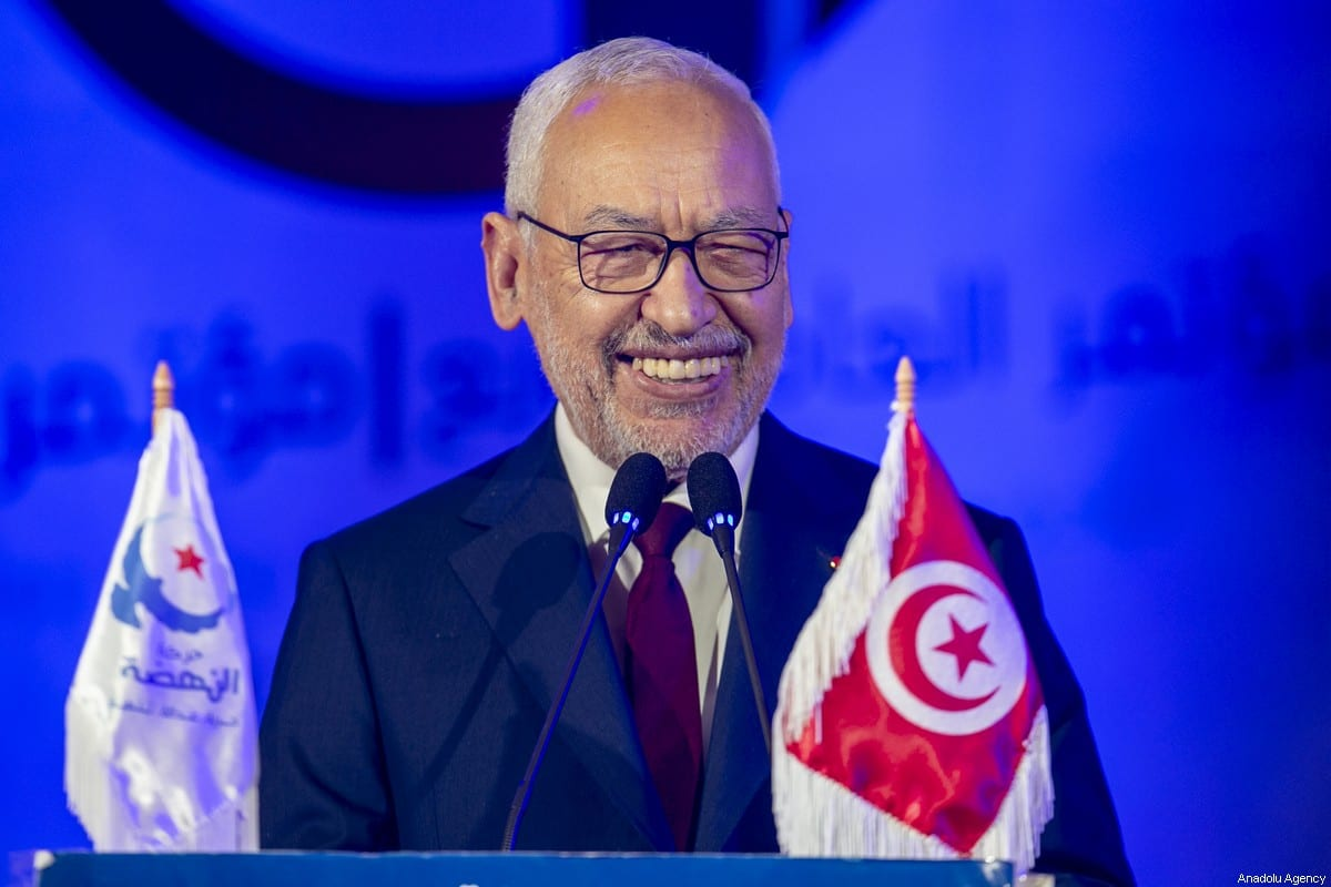 Tunisian Parliament Speaker Rashid Al Ghannouchi attends the 4th congress of Nahda movement student branches at Tunisia University in Tunis, Tunisia on 18 January 2020. [Yassine Gaidi - Anadolu Agency]