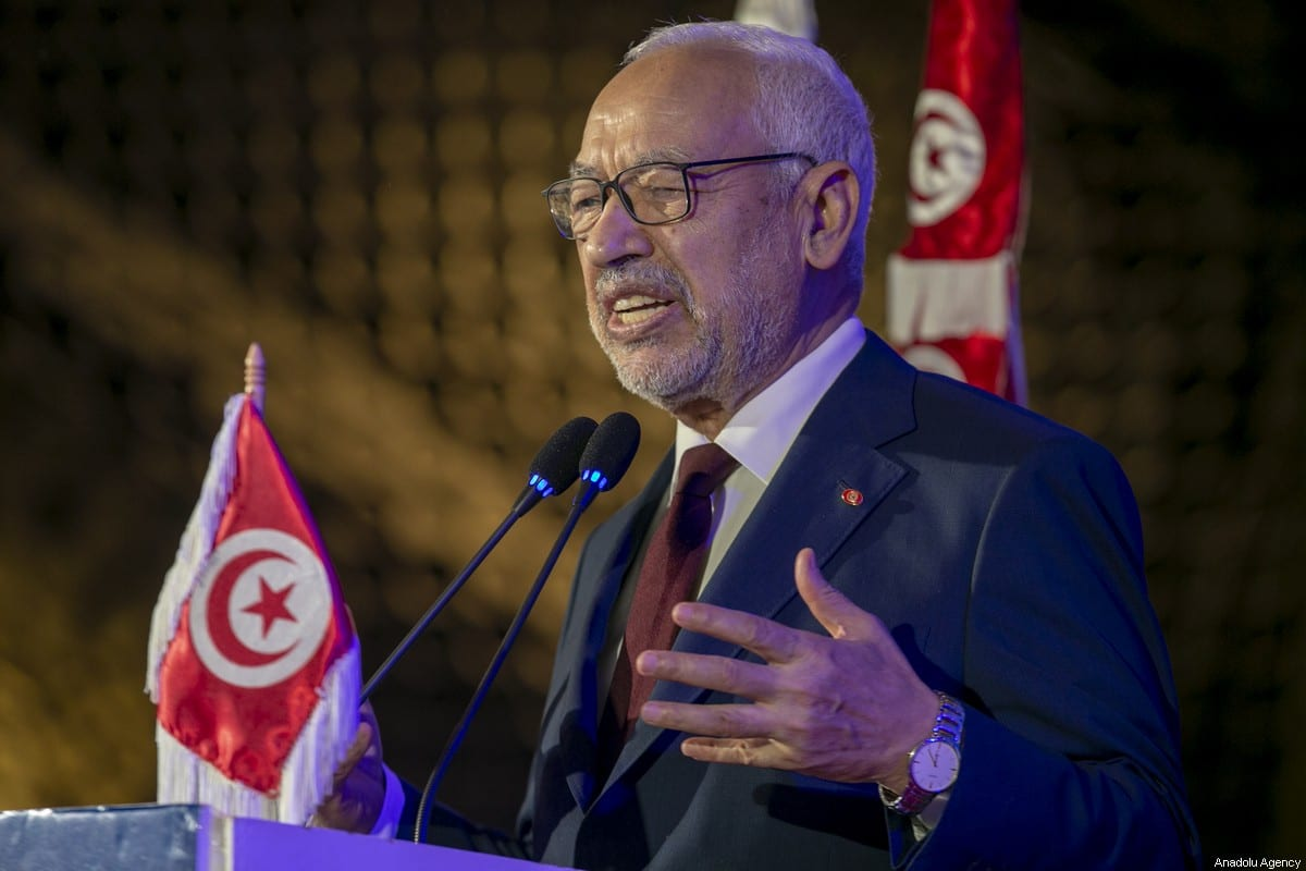 Tunisian Parliament Speaker Rashid Al Ghannouchi attends the 4th congress of Nahda movement student branches at Tunisia University in Tunis, Tunisia on 18 January 2020 [Yassine Gaidi/Anadolu Agency]