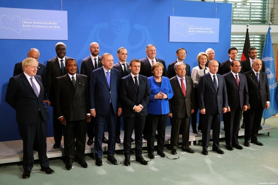 President of Turkey Recep Tayyip Erdogan, President of France Emmanuel Macron, President of Russia Vladimir Putin, Prime Minister of Italy Giuseppe Conte, British Prime Minister Boris Johnson, European Union Council President, Charles Michel , European Commission President, Ursula von der Leyen, President of Egypt Abdel Fattah el-Sisi and German Chancellor Angela Merkel pose for a family photo within the Berlin Conference on Libyan peace in Berlin, Germany on 19 January 2020. [Turkish Presidency / Murat Cetinmuhurdar - Anadolu Agency]