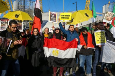 Protesters from the Egyptian Revolutionary Council and UK anti-Coup organisations demonstrate outside InterContinental Hotel against President of Egypt, Abdel Fattah el-Sisi who is attending UK Africa Investment Summit in London, United Kingdom on 20 January, 2020 [Dinendra Haria/Anadolu Agency]