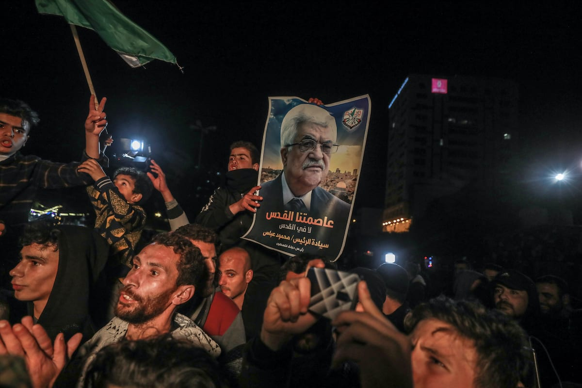 Palestinians stage a protest against so-called 'Deal of the Century' announced by US President Donald Trump, in Gaza City, Gaza on 28 January 2020 [Ali Jadallah/Anadolu Agency]
