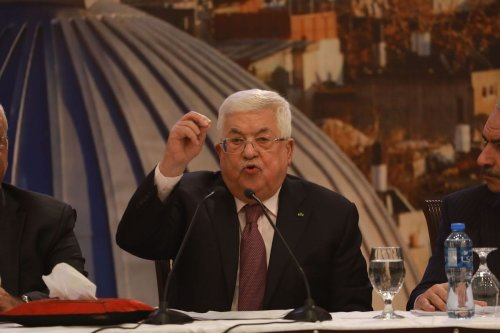 Palestinian President Mahmoud Abbas holds a press conference on Trump's so called peace plan in Ramallah, West Bank on 28 January 2020. [Issam Rimawi - Anadolu Agency]