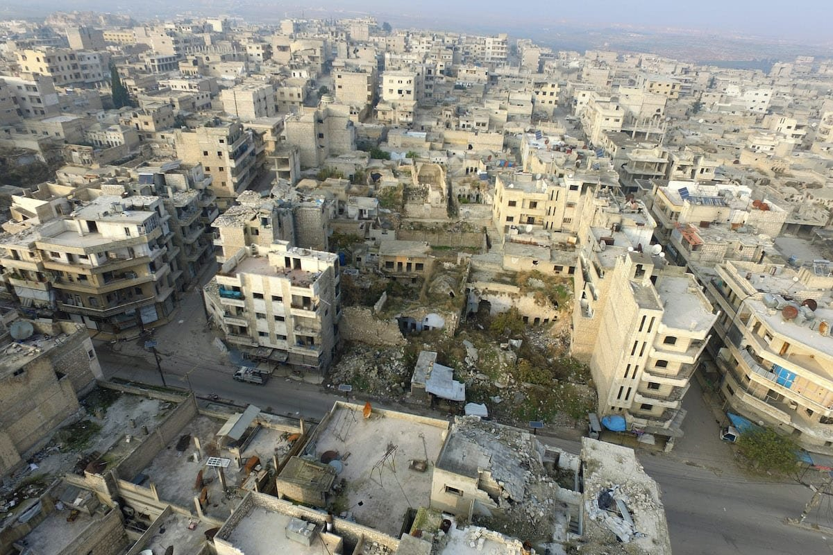 A file drone photo shows ruins of buildings in Maarat al-Numan district of Idlib, Syria. on 23 December 2019 [İzzeddin İdilbi - Anadolu Agency]