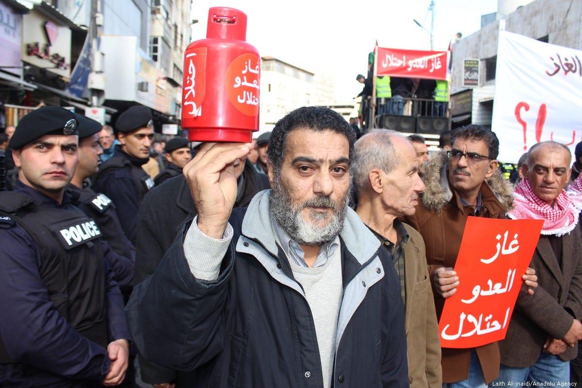 Jordanians protest against gas deal with Israel in Amman, Jordan on 3 January 2020 [Laıth Al-jnaıdı/Anadolu Agency]