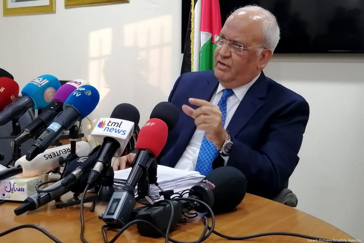 Secretary-General of Palestine Liberation Organisation's (PLO) Executive Committee, Saeb Erekat speaks during a press conference on the US President Donald Trump's Middle East Plan on 30 January 2020 in Ramallah, West Bank [Issam Rimawi/Anadolu Agency]