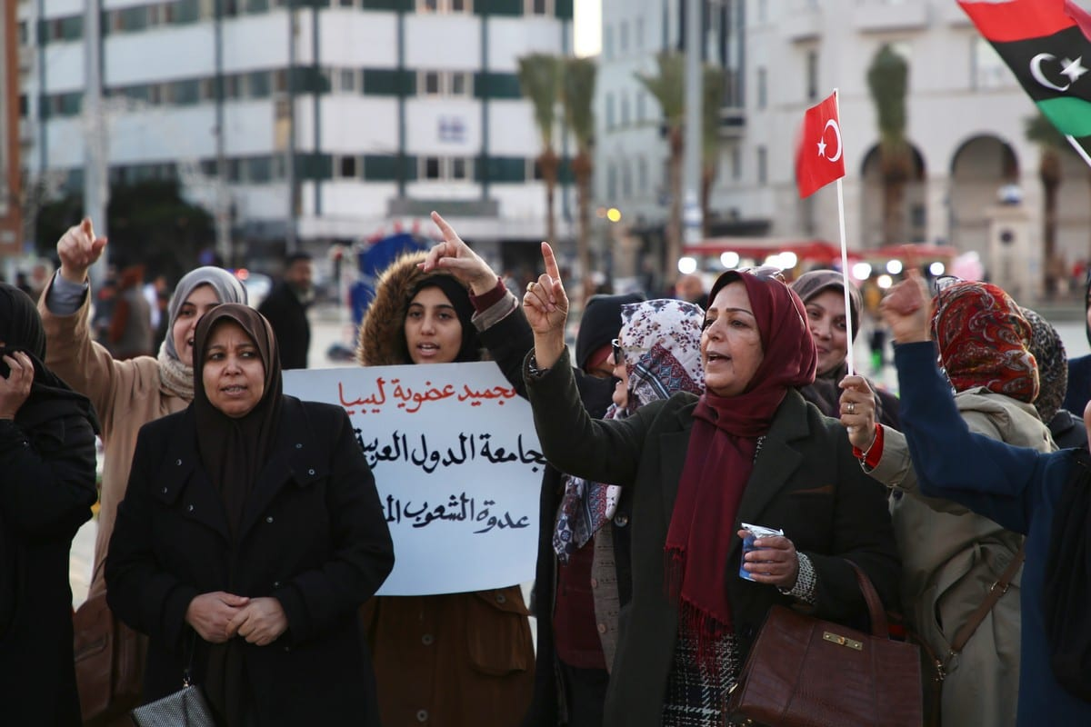 People gather in Tripoli to support of the motion authorising the Turkish government to send troops to Libya om 3 January 2020 [Hazem Turkia/Anadolu Agency]