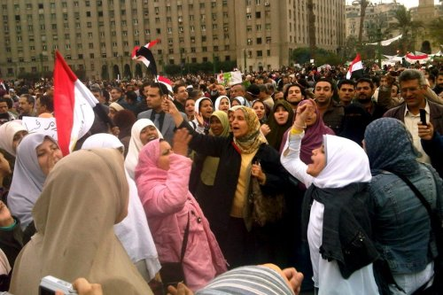 Women protesters in Tahrir square on 6 February 2011 [Flickr]