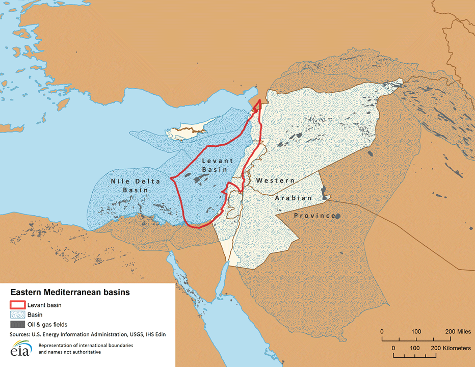 Eastern Mediterranean basins including Levent basin and oil and gas fields [Wikipedia]