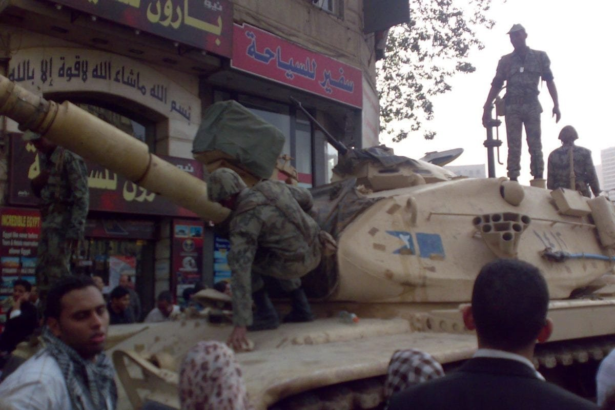Egyptian army tank in Tahrir square on 29 January 2011 [Wikipedia]