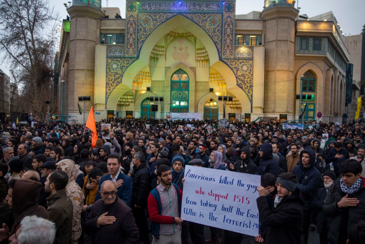 Iranians take part in an anti-US rally to protest the killings during a US air strike of Iranian military commander Qasem Soleimani and Iraqi paramilitary chief Abu Mahdi al-Muhandis on 4 January, 2020 in Tehran, Iran [Majid Saeedi/Getty Images]