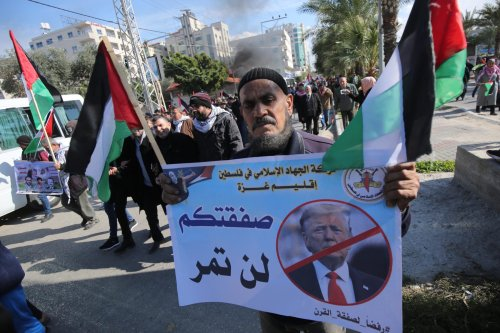 Palestinians in the Gaza Strip protest against the US' deal of the century which is due to be unveiled today on 28 January 2020 [Mohammed Assad/Middle East Monitor]