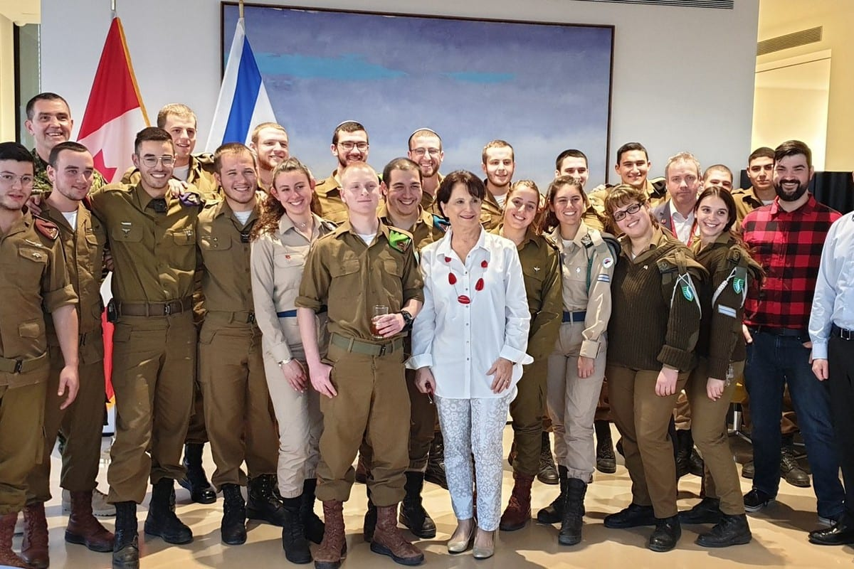 The Canadian Embassy in Tel Aviv host a party with Canadian lone soldiers in the Israeli Army on 16 January 2020 [Canada in Israel/Twitter]