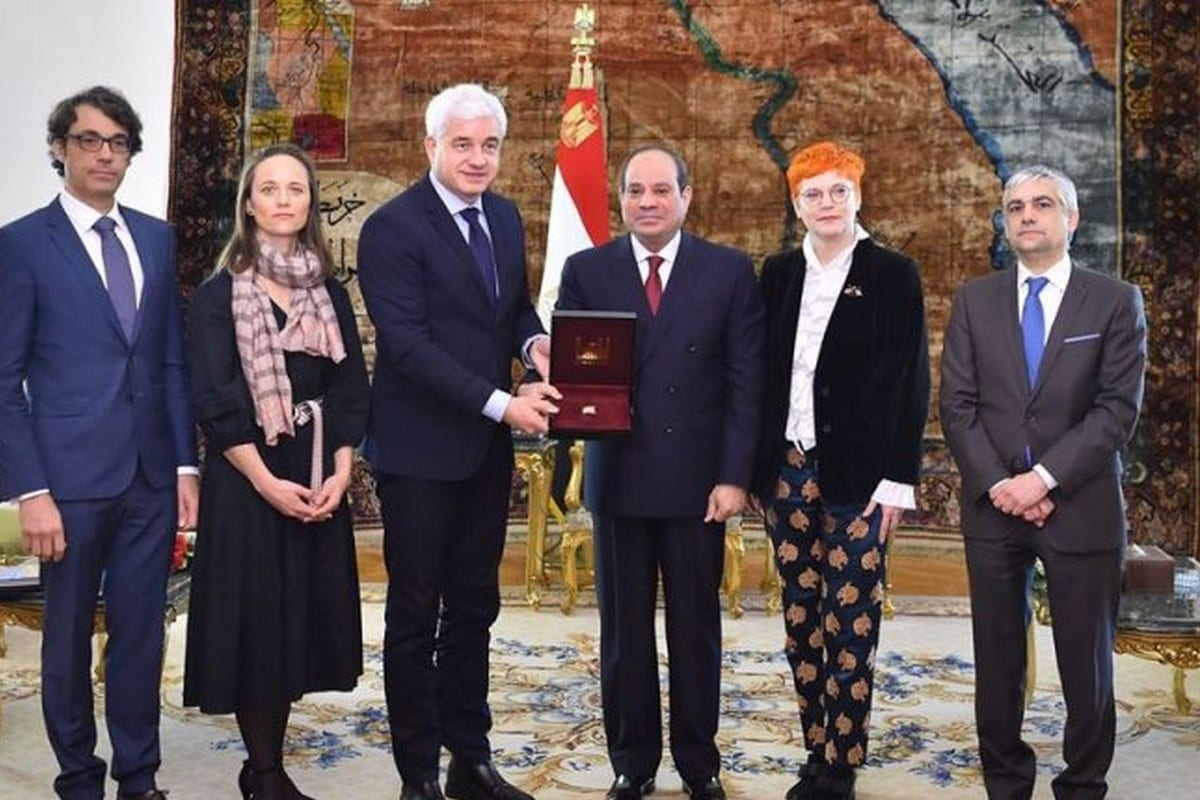 Egyptian President Abdel Fattah Al-Sisi received the German Order of St. George in recognition of his peace-making efforts in North Africa on 27 January 2020