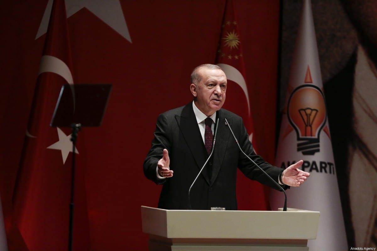 Turkish President and Leader of Turkey's ruling Justice and Development (AK) Party Recep Tayyip Erdogan in Ankara, Turkey on 31 January 2020 [Metin Aktaş/Anadolu Agency]