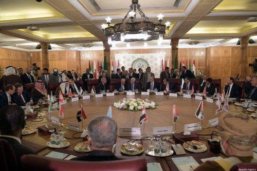 A general view from Arab League Foreign Ministers' extraordinary meeting on U.S. President Donald Trump's so-called Middle East peace plan in Cairo, Egypt on February 1, 2020 [Thaer Ghanaim/Palestinian Presidency/Handout - Anadolu Agency]