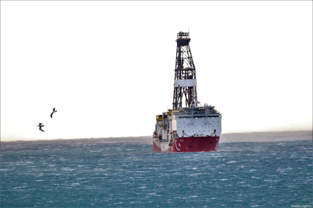 Turkey's drilling ship Fatih is anchored off the Tasucu Port in Silifke district of Mersin, Turkey on 1 February, 2020 [Mustafa Ünal Uysal/Anadolu Agency]