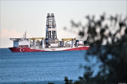 Turkey's drilling ship Fatih is anchored off the Tasucu Port in Silifke district of Mersin, Turkey on February 1, 2020 [Mustafa Ünal Uysal - Anadolu Agency]