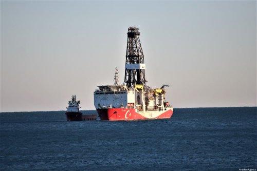 Turkey's drilling ship Fatih is anchored off the Tasucu Port in Silifke district of Mersin, Turkey on 1 February 2020. [Mustafa Ünal Uysal - Anadolu Agency]