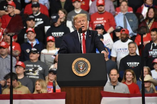 US President Donald J. Trump delivers remarks at a Keep America Great Rally in Manchester, New Hampshire, United States on 10 February 2020. [Kyle Mazza - Anadolu Agency]