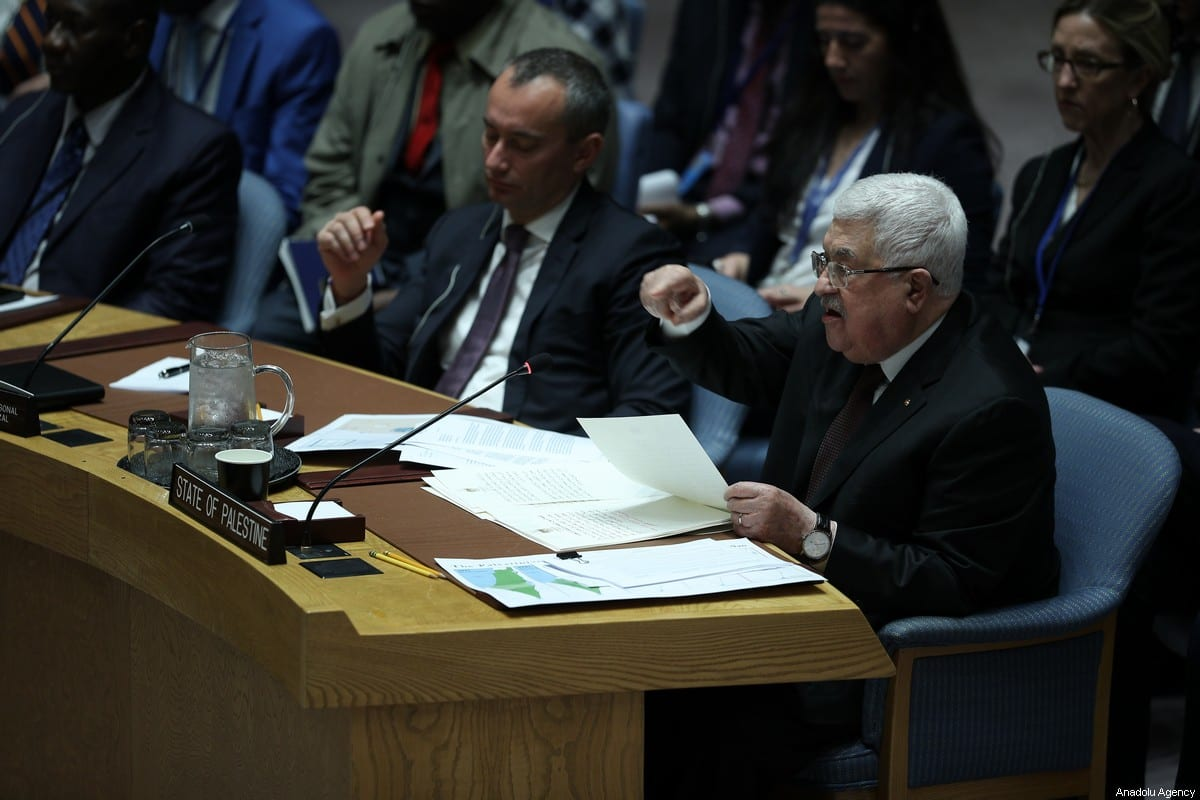 Palestinian President, Mahmoud Abbas speaks during the UN Security Council meeting about the situation in the Middle East, including the Palestinian at United Nations headquarters in New York, United States on 11 February 2020. [Tayfun Coşkun - Anadolu Agency]
