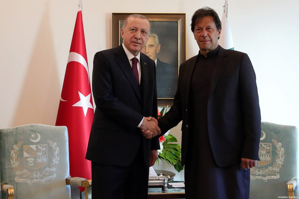 President of Turkey Recep Tayyip Erdogan (L) shakes hand with Prime Minister of Pakistan Imran Khan (R) in Islamabad, Pakistan on 14 February 2020 [Murat Kula/Anadolu Agency]