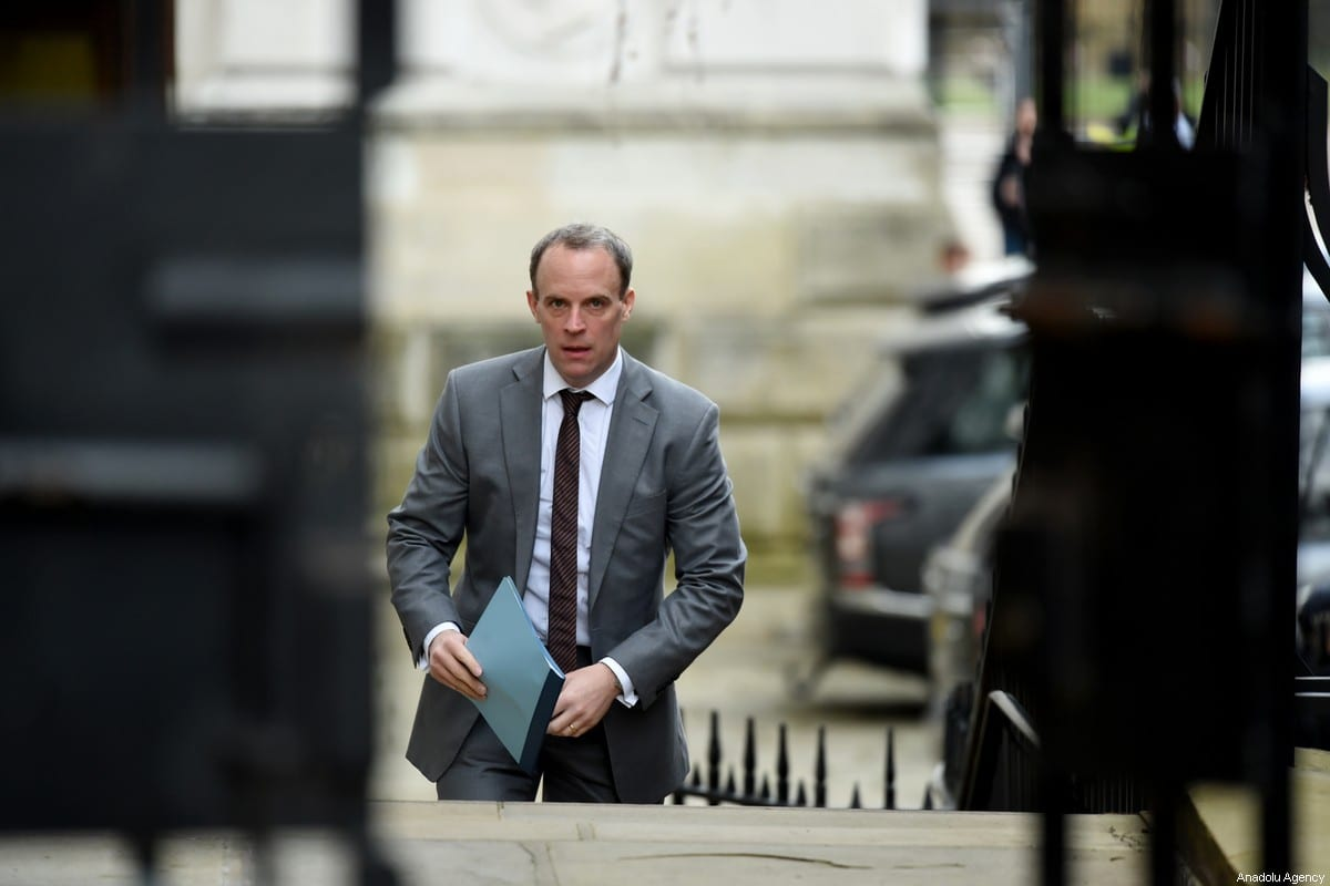 Foreign Secretary and First Secretary of State Dominic Raab in London UK on 14 February 2020 [Kate Green/Anadolu Agency]