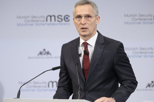 Secretary-General Jens Stoltenberg in Munich, Germany on 15 February 2020 [Abdulhamid Hoşbaş/Anadolu Agency]