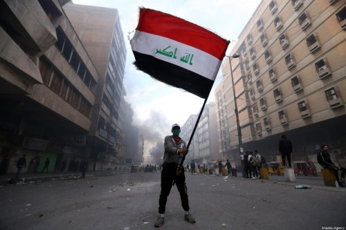Iraqi protesters gather for an anti-government protest at al-Khalani Square in Baghdad, Iraq on 15 February 2020. [Murtadha Al-Sudani - Anadolu Agency]