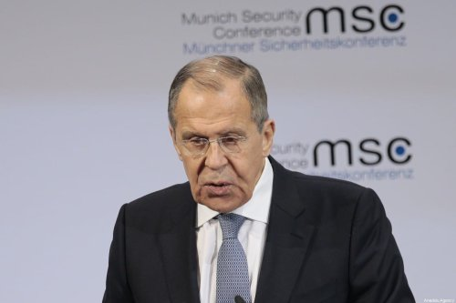 Russian Foreign Minister Sergey Lavrov makes a speech during the 56th Munich Security Conference at Bayerischer Hof Hotel in Munich, Germany on February 15, 2020. ( Abdulhamid Hoşbaş - Anadolu Agency )
