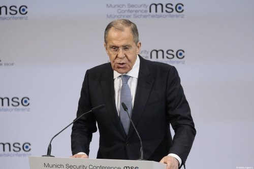 Russian Foreign Minister Sergey Lavrov makes a speech during the 56th Munich Security Conference at Bayerischer Hof Hotel in Munich, Germany on February 15, 2020. [Abdulhamid Hoşbaş/Anadolu Agency]