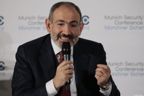 Prime Minister of Armenia Nikol Pashinyan in Munich, Germany on 15 February 2020 [Abdulhamid Hoşbaş/Anadolu Agency]