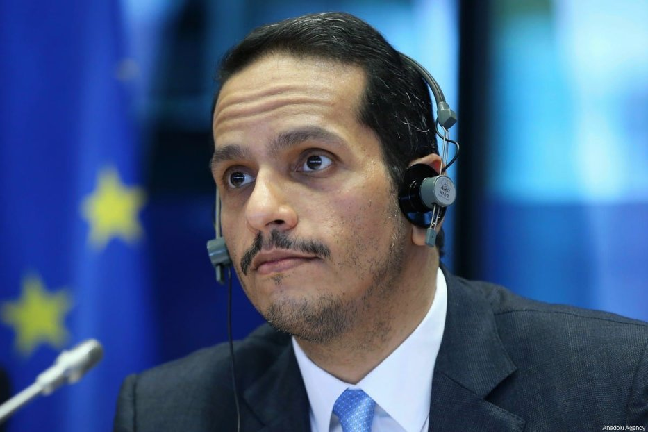Minister of Foreign Affairs of Qatar Mohammed bin Abdulrahman bin Jassim Al-Thani delivers his remarks at European Parliament Committee on Foreign Affairs in Brussels, Belgium on February 19, 2020. [Dursun Aydemir - Anadolu Agency]