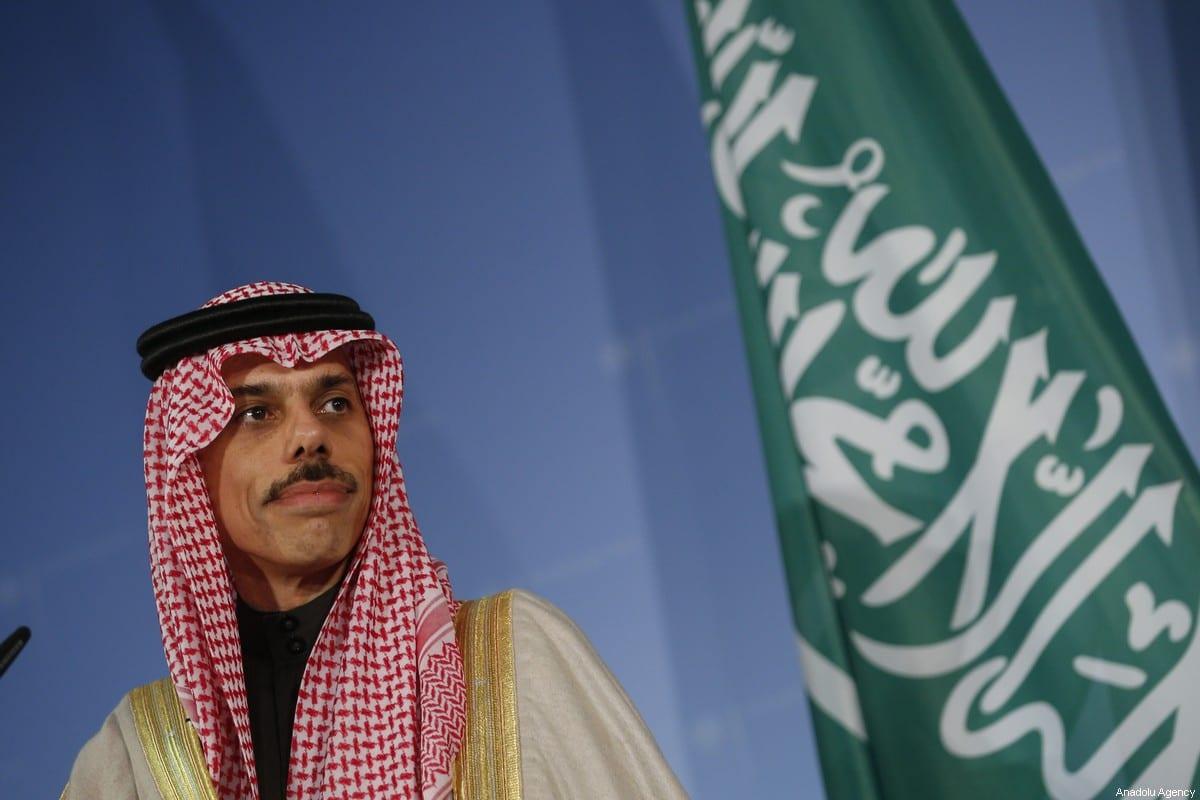 Saudi Arabian Foreign Minister Prince Faisal bin Farhan Al Saud in Berlin, Germany on February 21, 2020. [Abdulhamid Hoşbaş - Anadolu Agency]