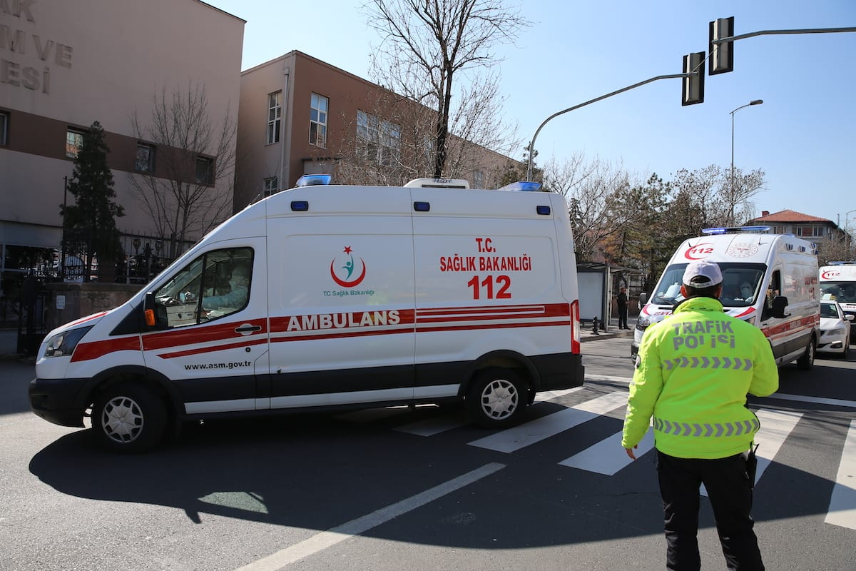 132 Turkish citizens plus flight crew, coming from Iran to Turkey, are dispatched to Dr. Zekai Tahir Burak Hospital with ambulances for 14-days long quarantine in Ankara, Turkey on 25 February 2020.