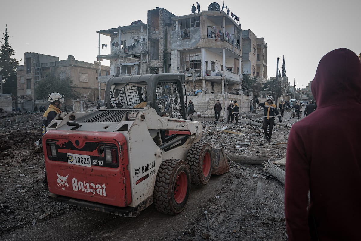 A view of a damage after Assad regime attacks in Ma'arrat Misrin residential area in Idlib, Syria on 25 February 2020. [Muhammed Said - Anadolu Agency]