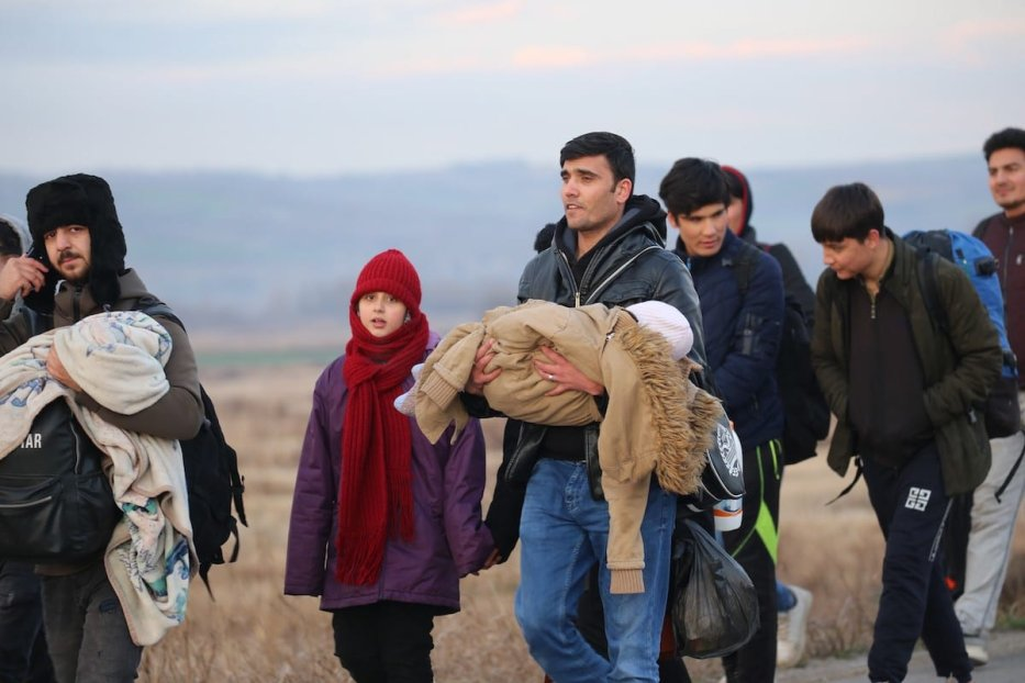 Irregular migrants arrived to Edirne to proceed Europe Turkey on 28 February 2020. [Salih Baran - Anadolu Agency]