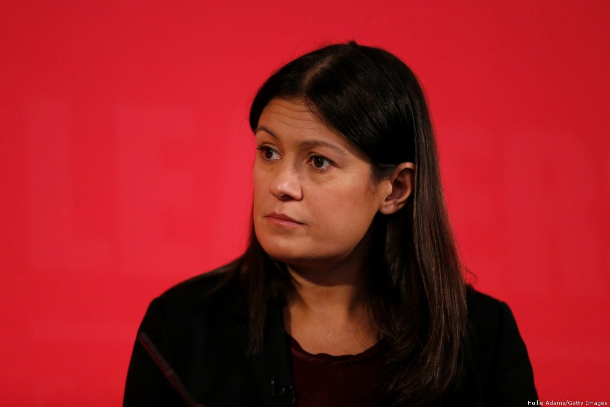 Lisa Nandy speaking at a hustings event for Labour Leader and Deputy Leader, hosted by the Co-operative Party, at the Business Design Centre on February 16, 2020 [Hollie Adams/Getty Images]