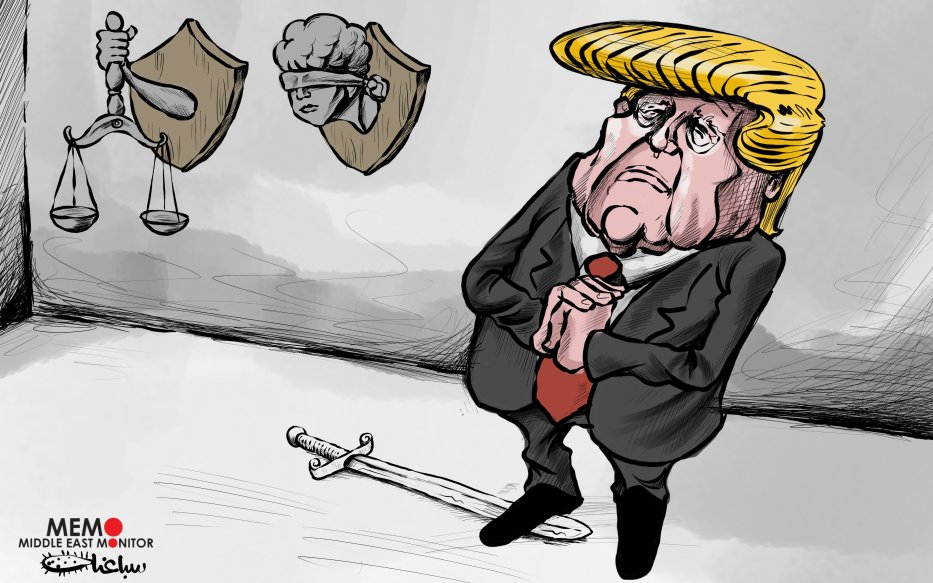 Trump's deal breaches international law - Cartoon [Sabaaneh/MiddleEastMonitor]