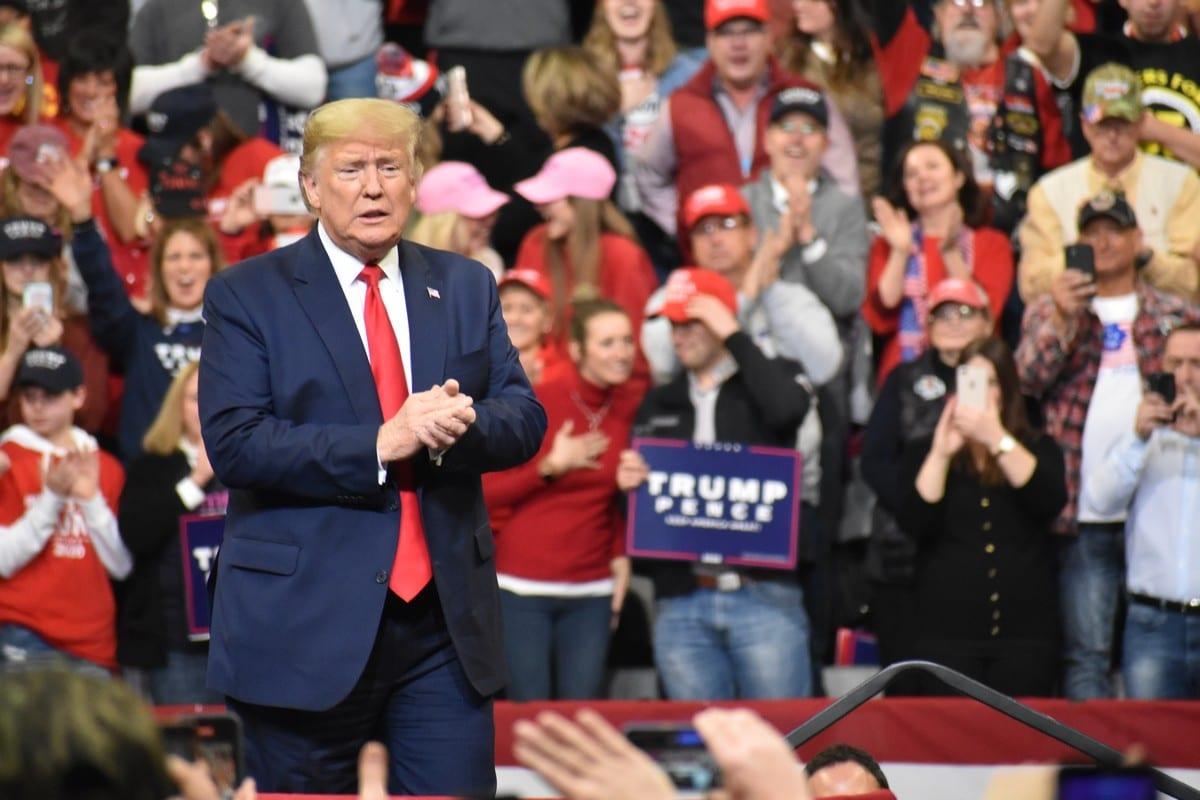 US President Donald Trump in IA, US on 30 January 2020 [Kyle Mazza/Anadolu Agency]