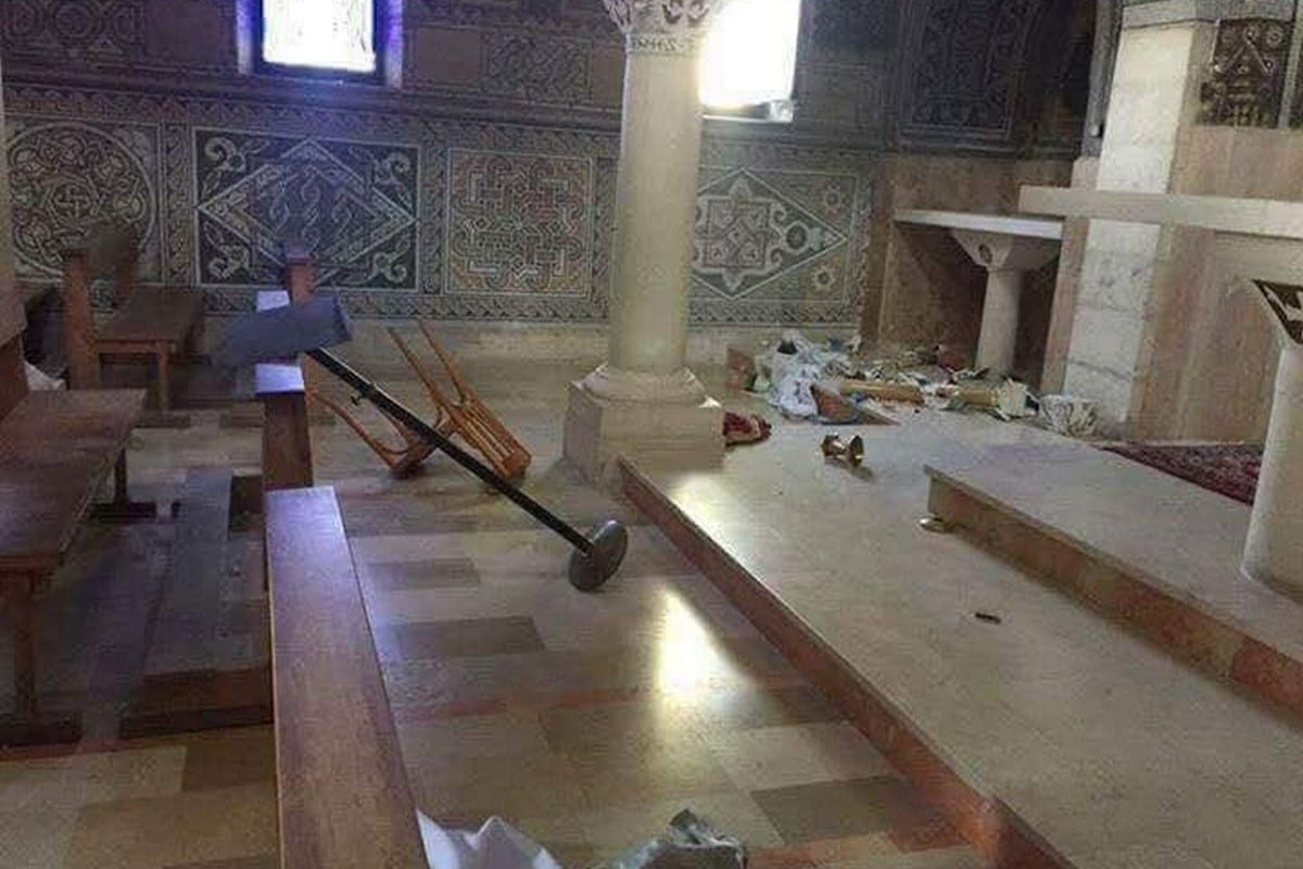 Israeli settlers broke in and damaged a Church in the West Bank on 23 September 2018 [Twitter]
