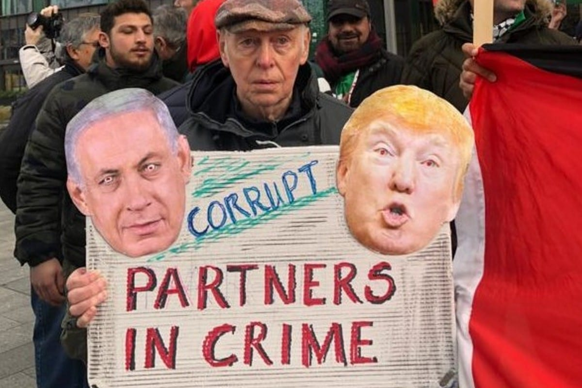 British protestors gathered outside the US embassy in London to decry Donald Trump's so-called 'Deal of the Century' on February 1, 2020 [organisers]