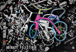 Published by the Palestinian National Liberation Movement (Fateh) circa 1988, this poster features an artwork by A. Zulfikarpašić and M. Mikanović. The piece combines a glimpse of a wrecked house; amidst the rubble appears a painting of a new coloured bicycle laid over a destroyed one.