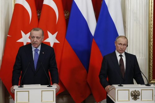 President of Turkey Recep Tayyip Erdogan (L) makes a speech during a joint press conference with President of Russia Vladimir Putin (R) following an inter-delegation meeting at Kremlin Palace in Moscow, Russia on 5 March 2020. [Sefa Karacan - Anadolu Agency]