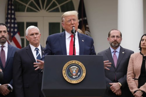 US President Donald J. Trump declares a national emergency due to the COVID-19 coronavirus pandemic, in the Rose Garden of the White House, in Washington, DC, United States on 13 March 2020. [Yasin Öztürk - Anadolu Agency]