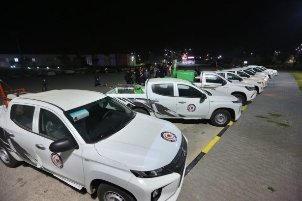 Disinfection vehicles are seen at Mitiga International Airport after they have been imported by Government of National Accord of Libya as a precaution against coronavirus (Covid-19) in Tripoli, Libya on 20 March, 2020 [Hazem Turkia/Anadolu Agency]